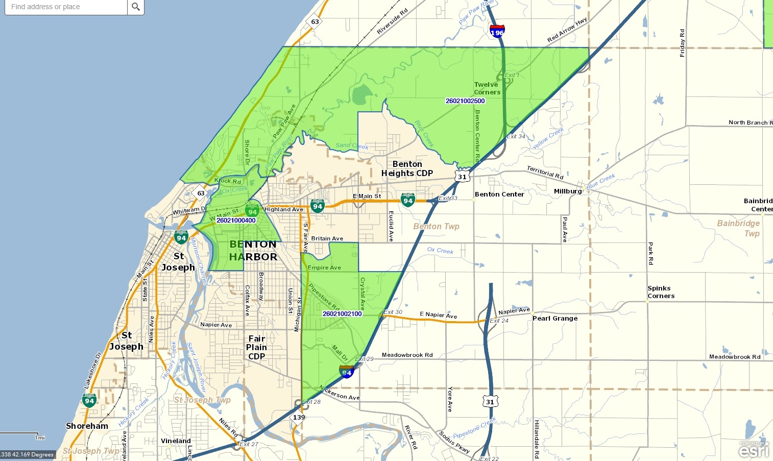 Benton Harbor area Opportunity Zones and Tracts